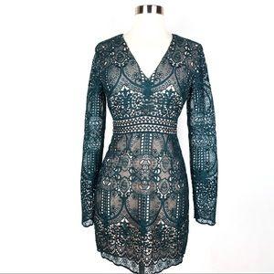 New STYLESTALKER Arianna sheath dress green lace